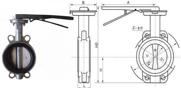 D71手柄对夹式软密封蝶阀结构图
