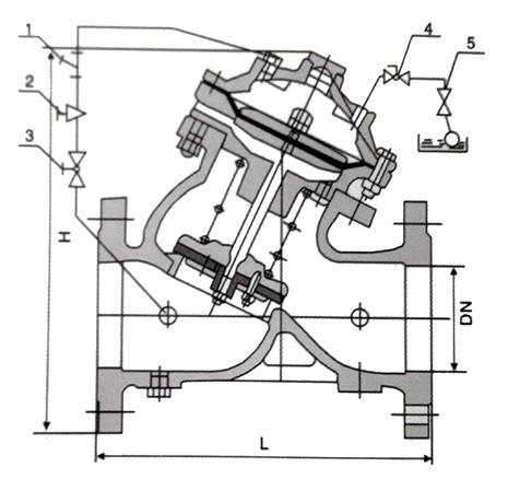 F745X/H103X隔膜式遥控浮球阀结构示意图