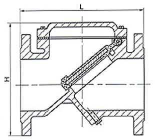 HC44X橡胶瓣止回阀外形尺寸图