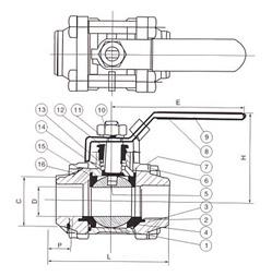 三片式对焊球阀结构图