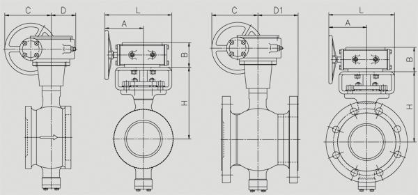 精小型气动V型球阀外形尺寸安装图表