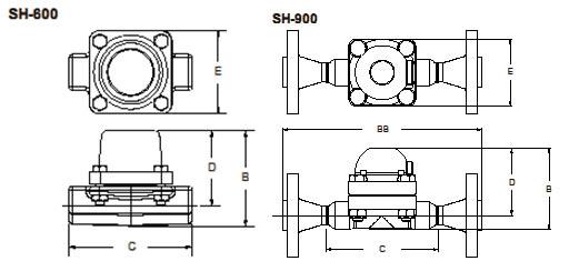 SH系列过热蒸汽疏水阀外形尺寸图
