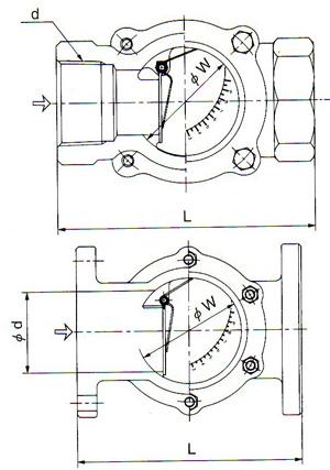 日本耀希达凯YOSHITAKE阀门—150F-F观试镜尺寸图