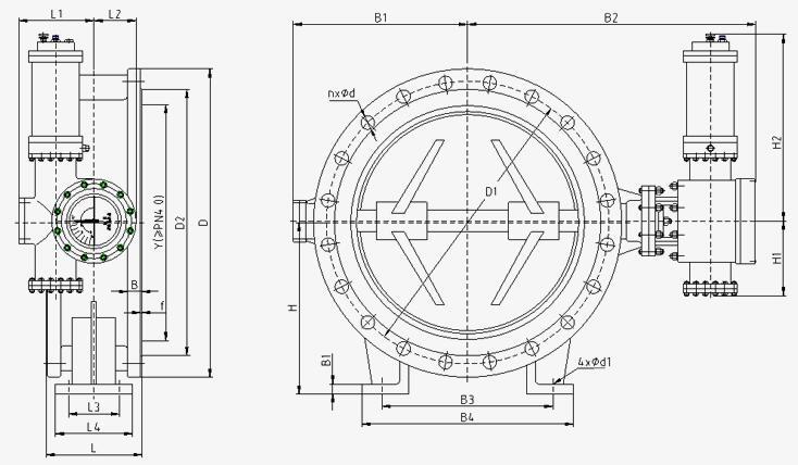 蓄能器式液控缓闭蝶阀外形及连接尺寸图